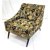 Floral Upholstered Modernist Lounge Chair Sloped
