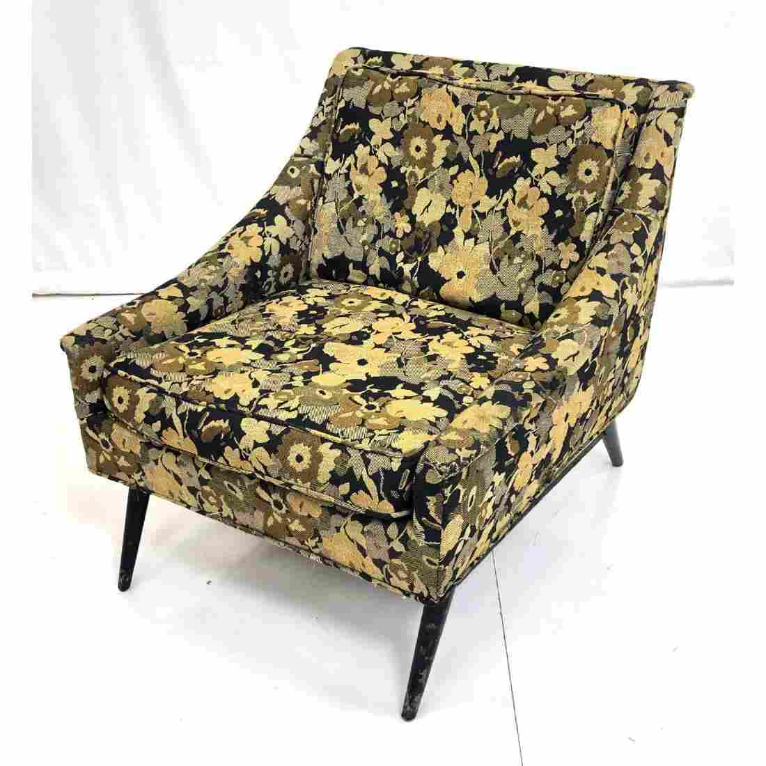 Floral Upholstered Modernist Lounge Chair. Sloped