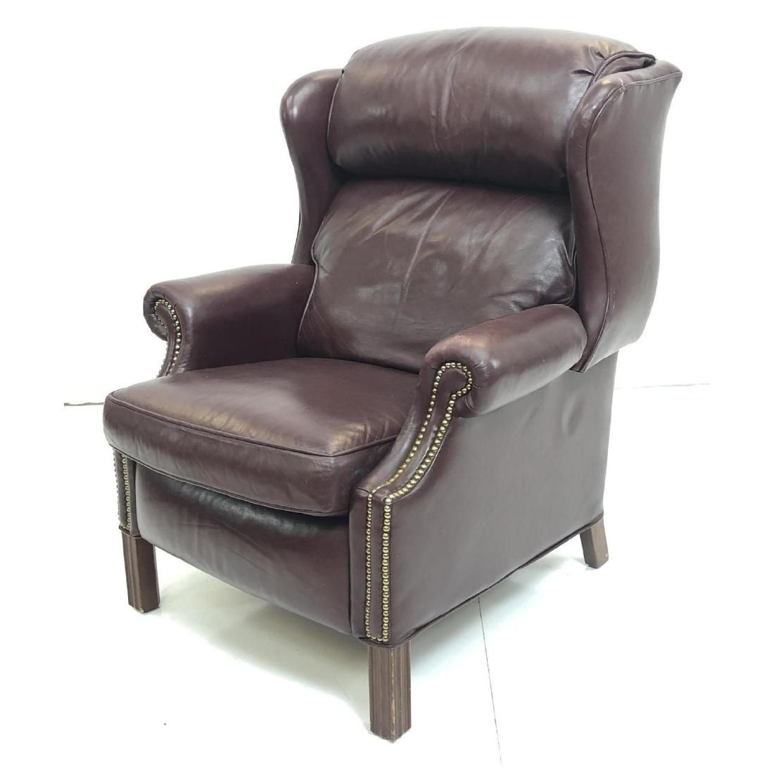 BRADINGTON YOUNG Wine Leather Wing Chair Recliner