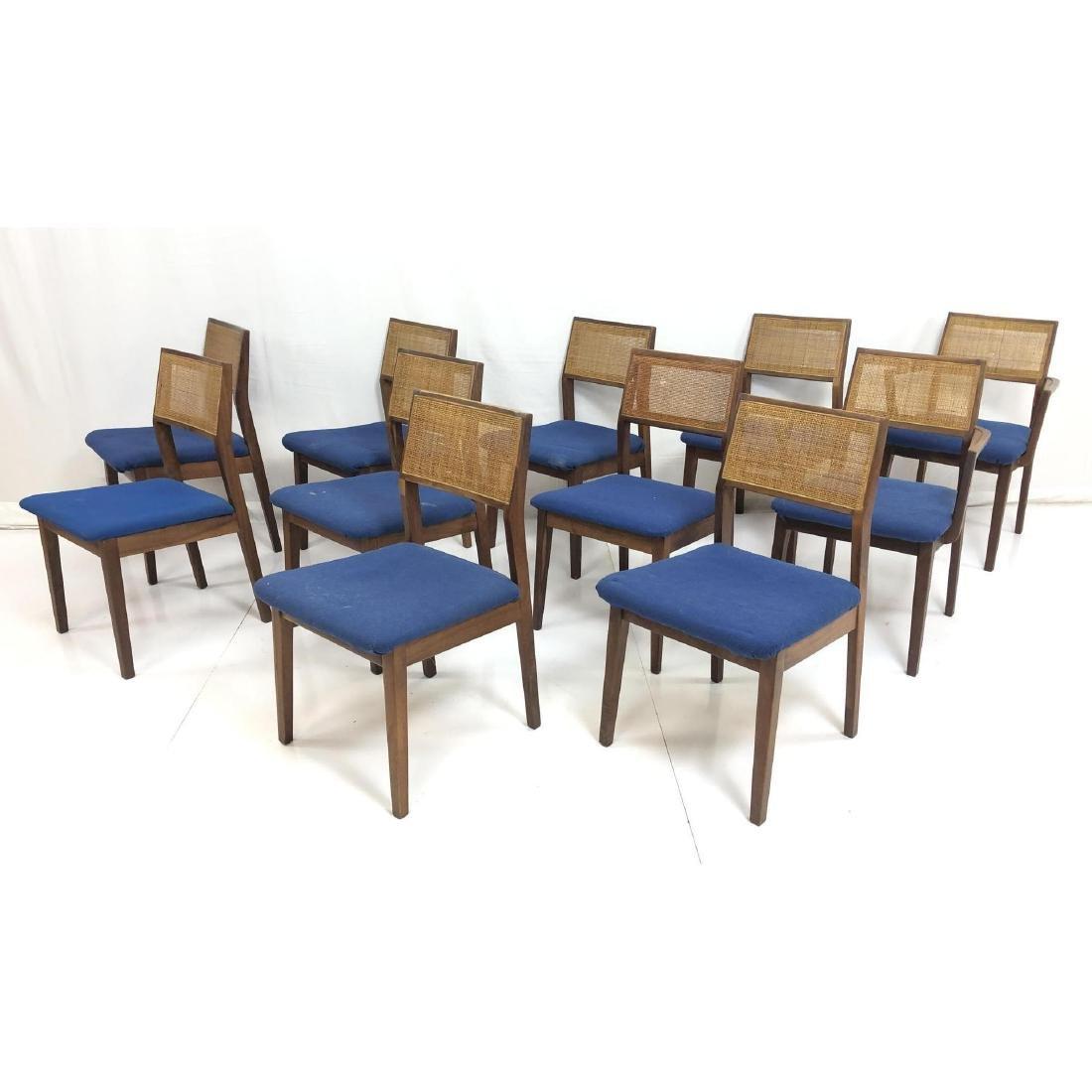 Set 11 Modernist Cane Back Walnut Dining Chairs.