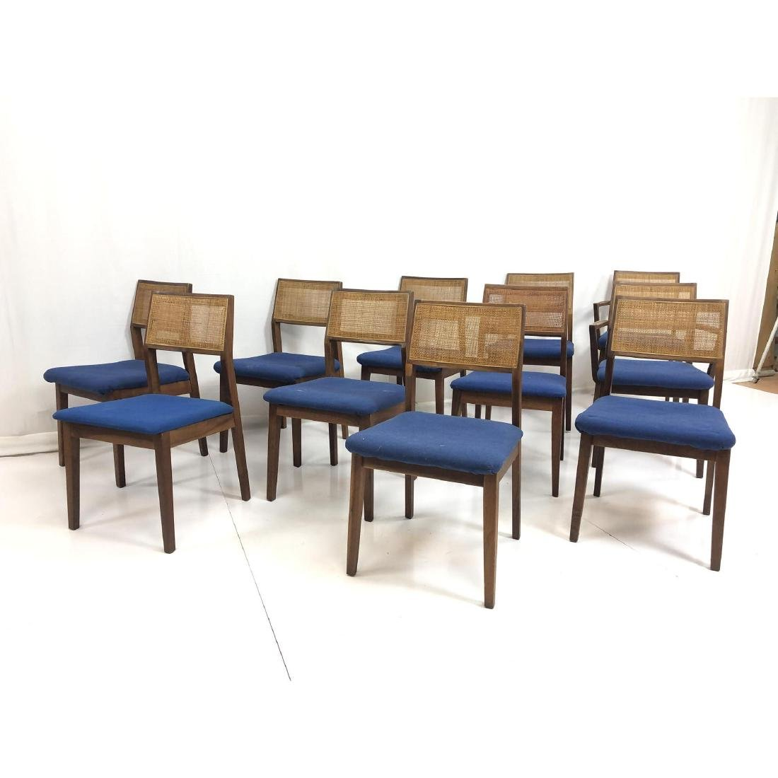 Set 11 Modernist Cane Back Walnut Dining Chairs. - 2