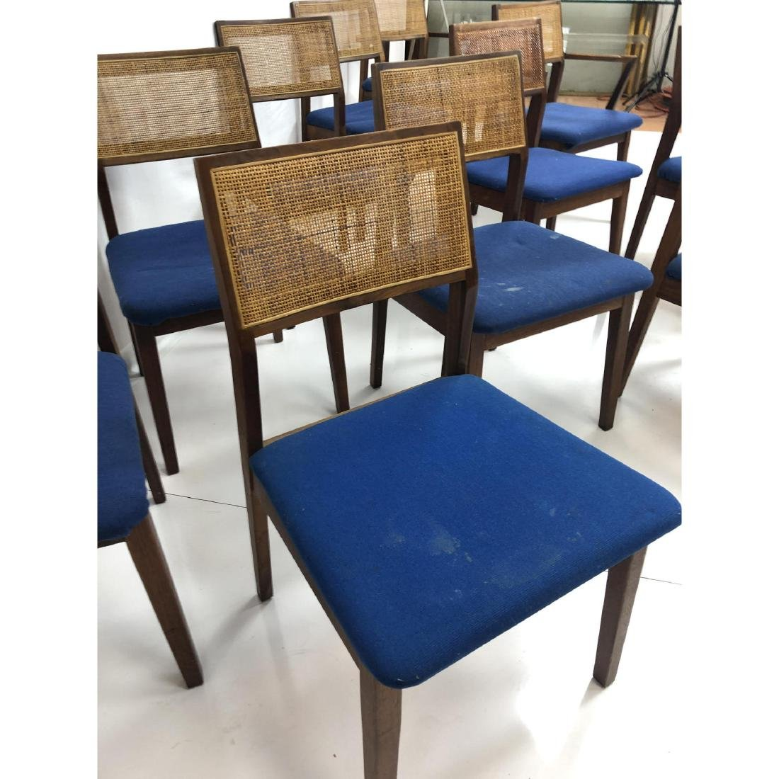 Set 11 Modernist Cane Back Walnut Dining Chairs. - 3
