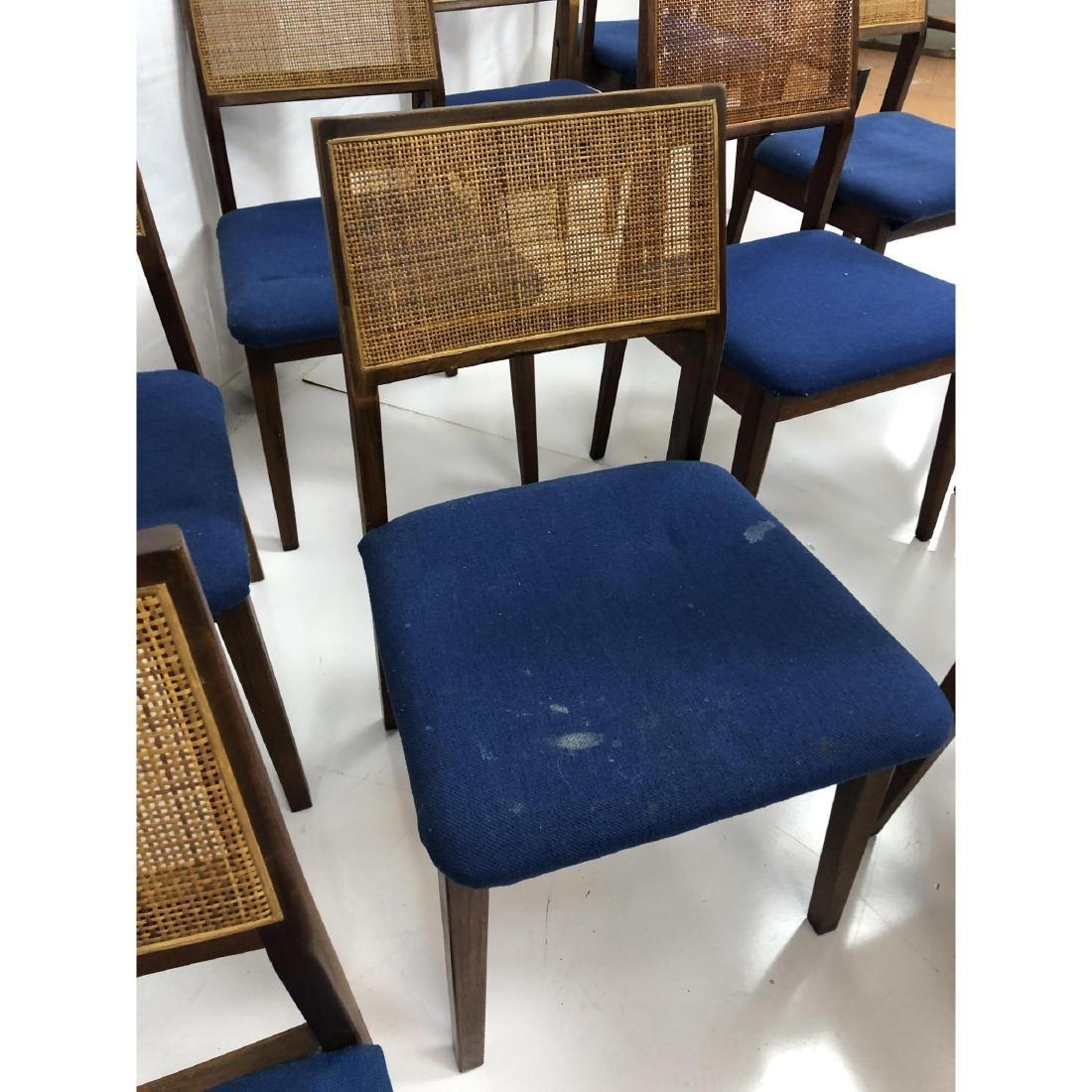 Set 11 Modernist Cane Back Walnut Dining Chairs. - 6