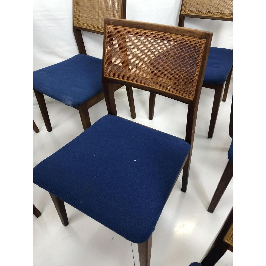 Set 11 Modernist Cane Back Walnut Dining Chairs. - 7