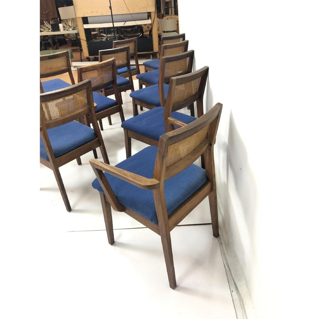 Set 11 Modernist Cane Back Walnut Dining Chairs. - 8