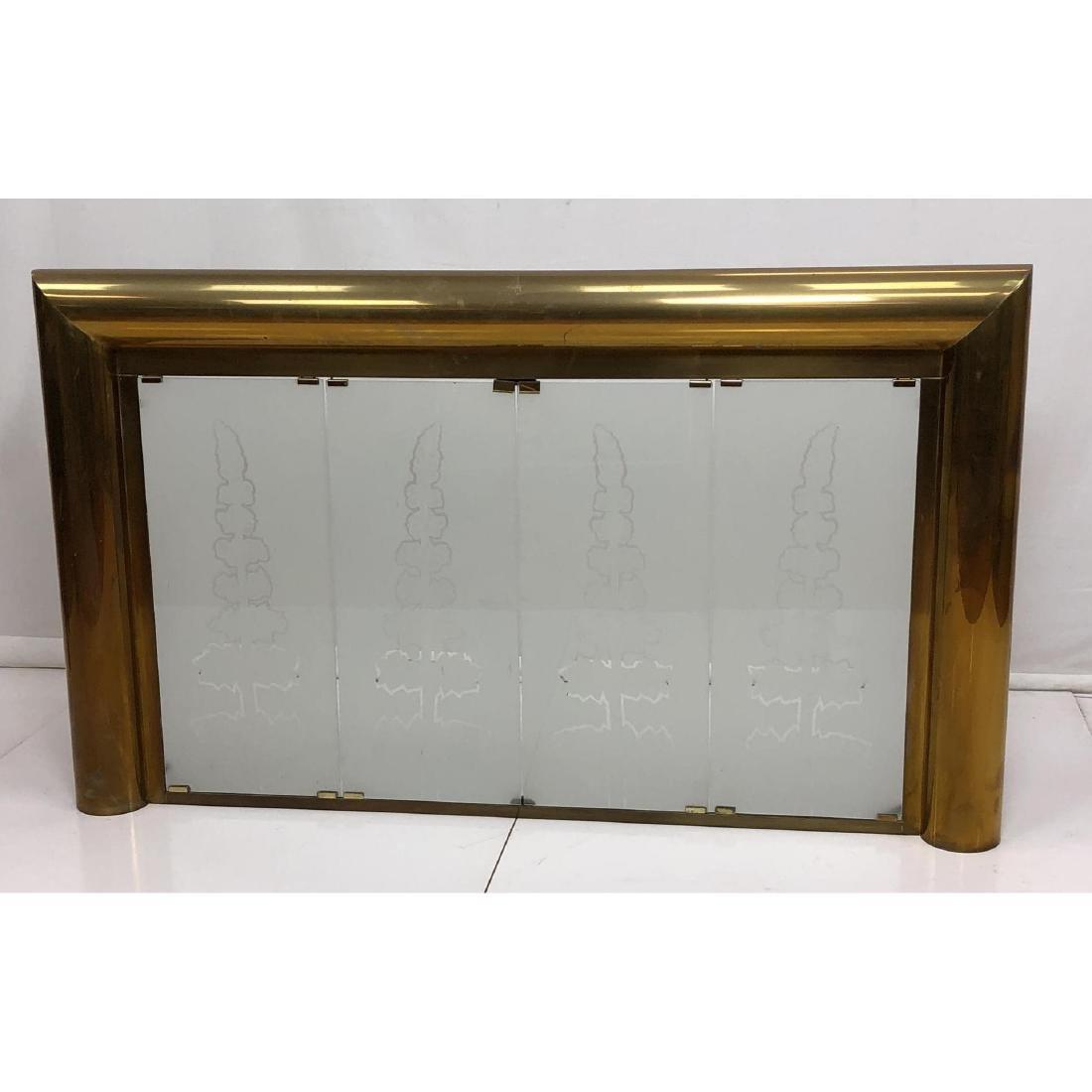 Modernist Brass Frame Oversized Fireplace Surroun