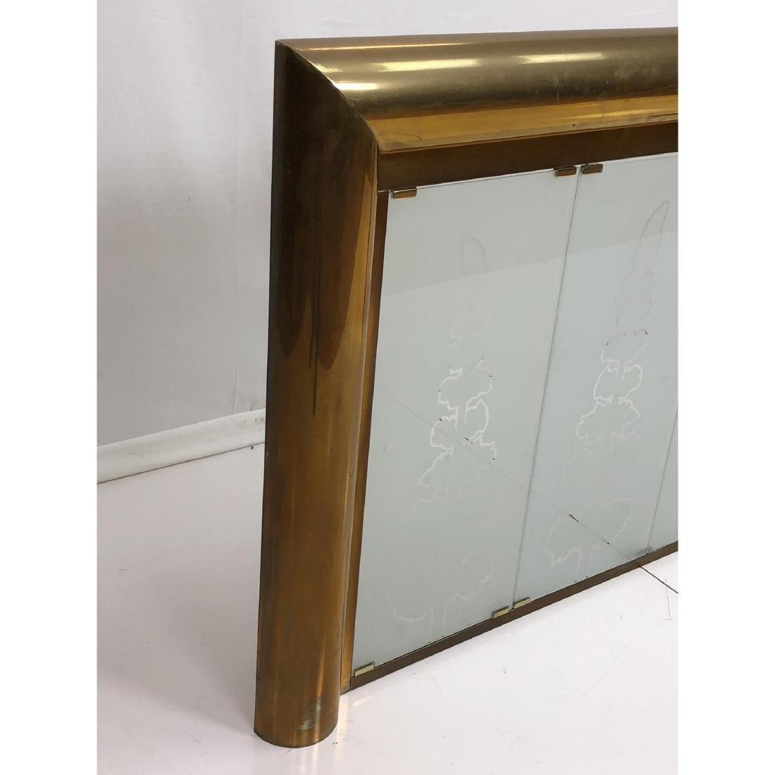Modernist Brass Frame Oversized Fireplace Surroun - 3