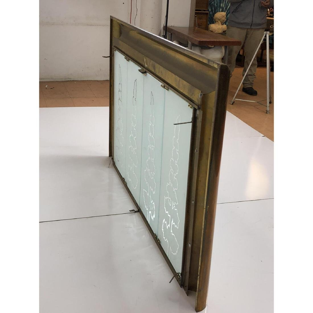 Modernist Brass Frame Oversized Fireplace Surroun - 6