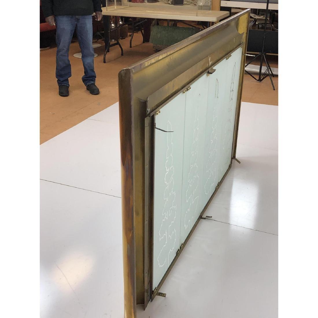 Modernist Brass Frame Oversized Fireplace Surroun - 7