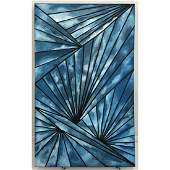 Lg Modernist Blue Oil Painting Abstract Fan Desig