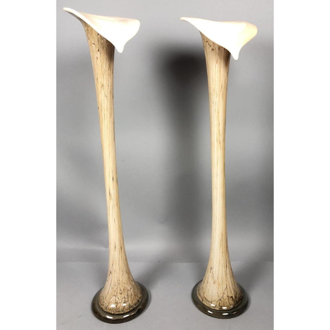 Pr Murano Art Glass Tall Lily Shaped Vases. Swoll