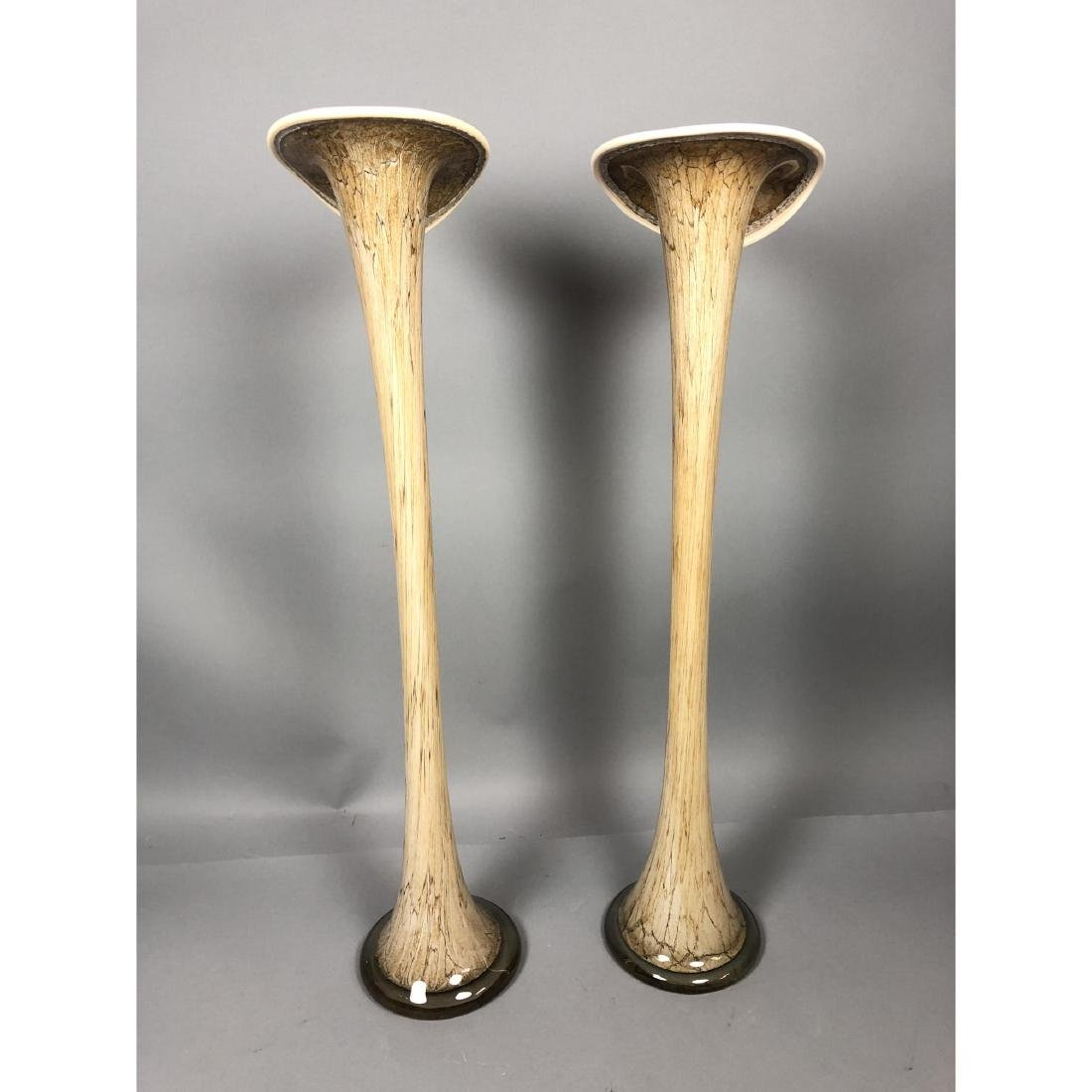Pr Murano Art Glass Tall Lily Shaped Vases. Swoll - 6