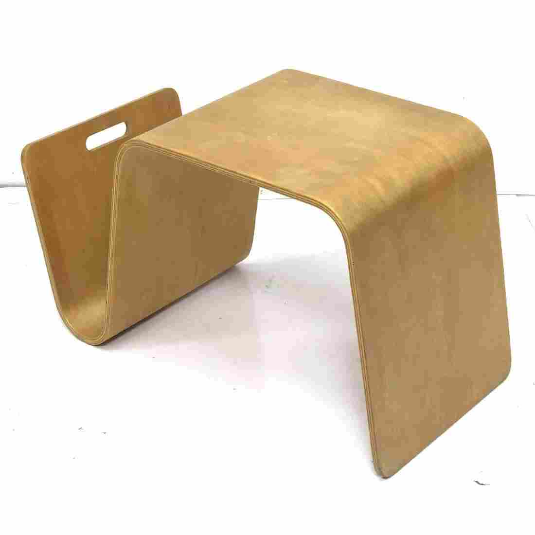 Alvar Aalto style Laminated Wood Bench Seat Magaz