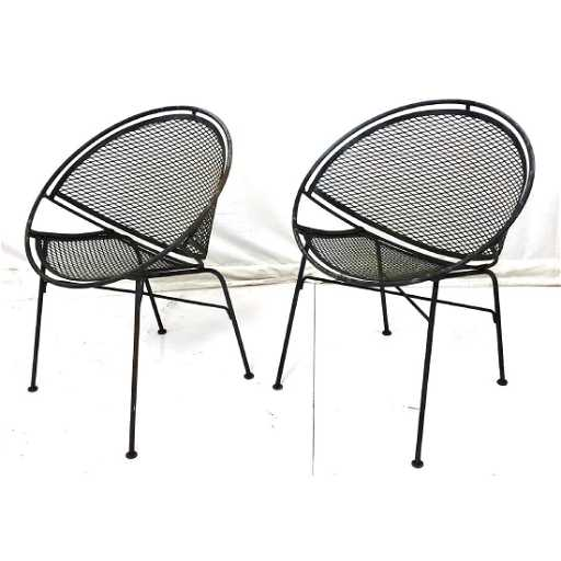 Pr Salterini Iron Hoop Outdoor Patio Chairs Placeholder