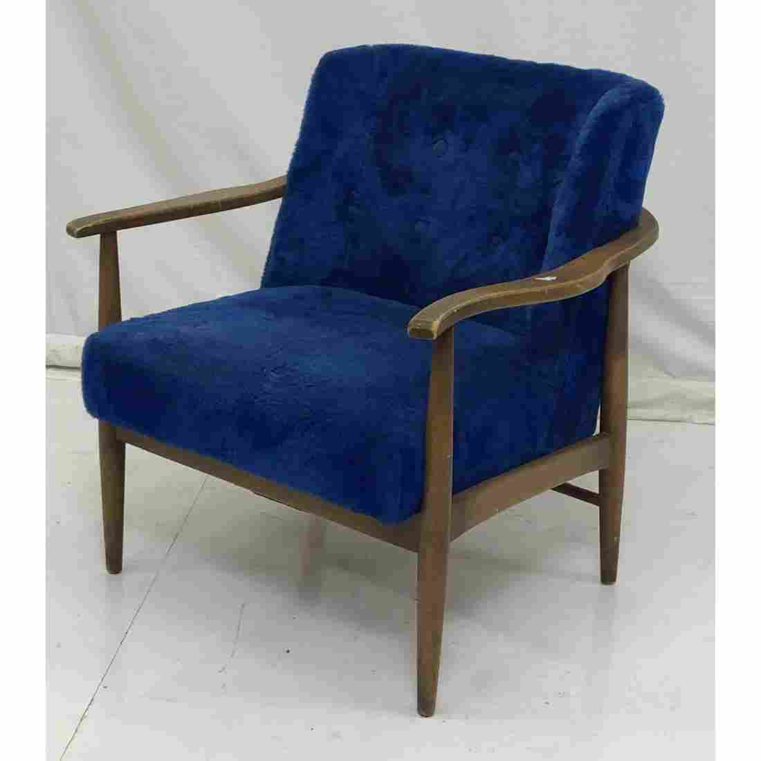 Blue Plush Upholstered Modernist Lounge Chair. Op