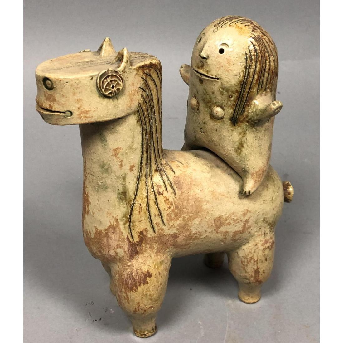 HANS DE JONG Pottery Sculpture. Pottery Horse & R