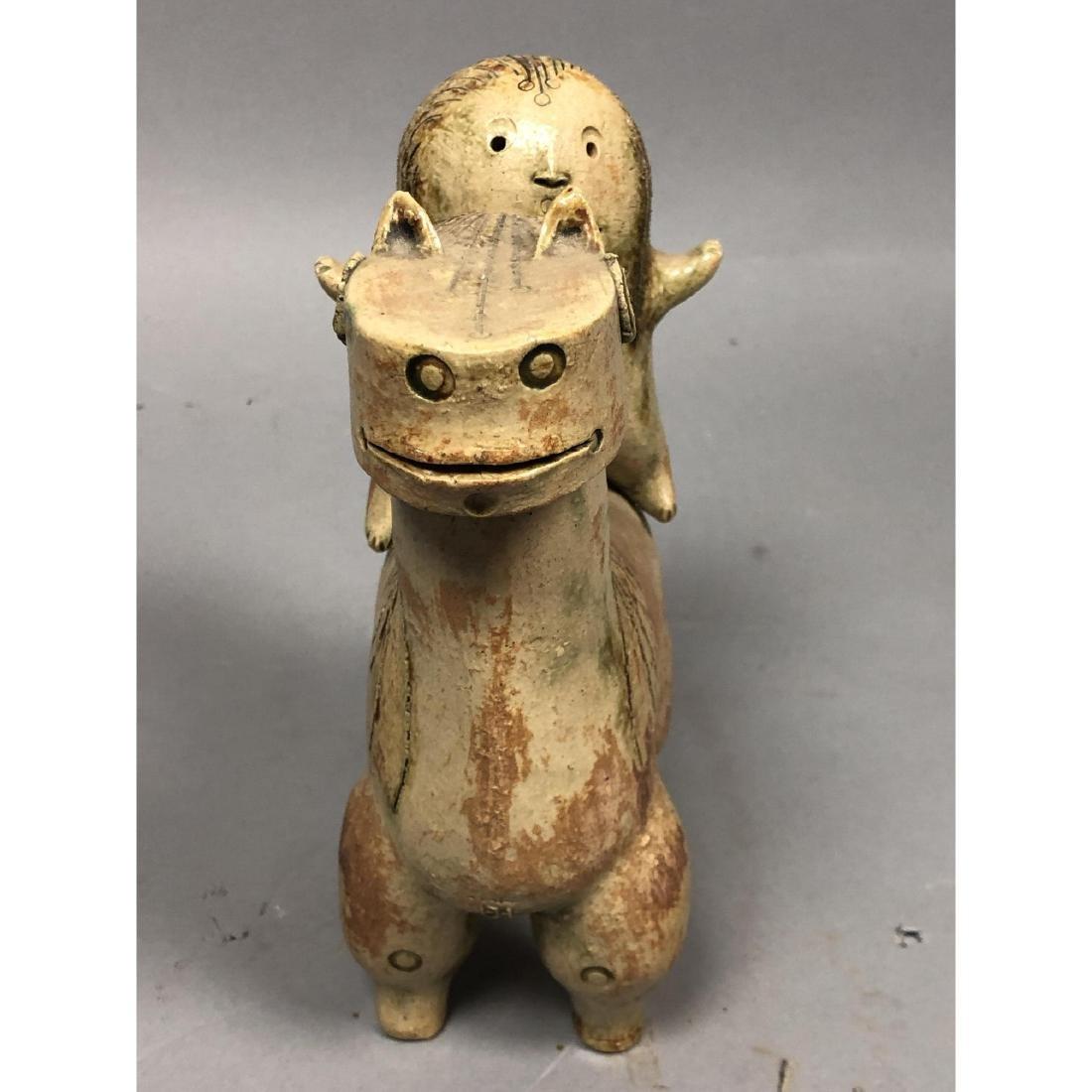 HANS DE JONG Pottery Sculpture. Pottery Horse & R - 3