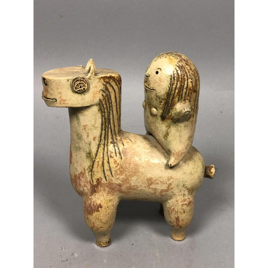 HANS DE JONG Pottery Sculpture. Pottery Horse & R - 6