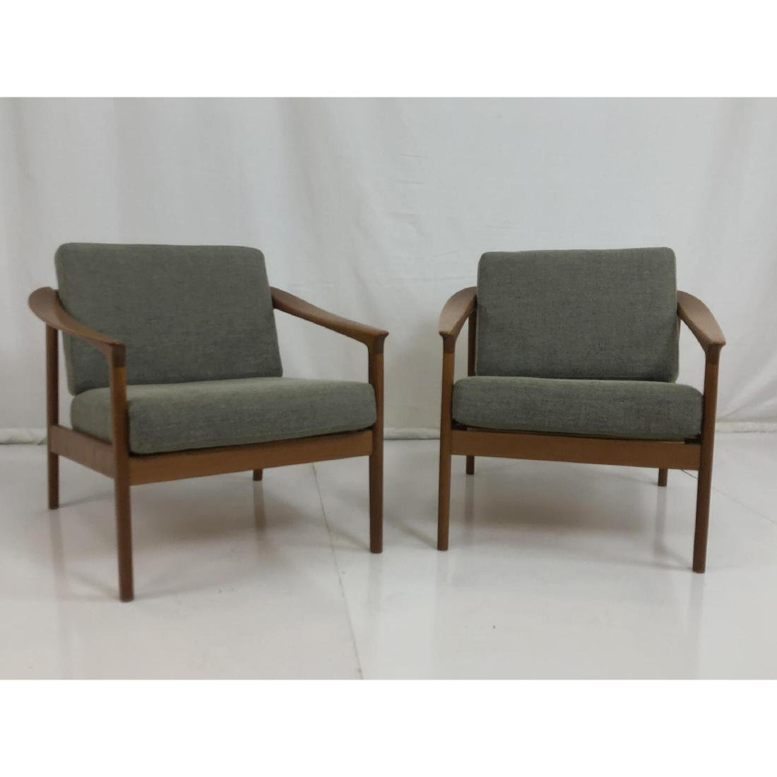 Pr FOLKE OHLSSON Danish Modern Teak Lounge Chairs - 2