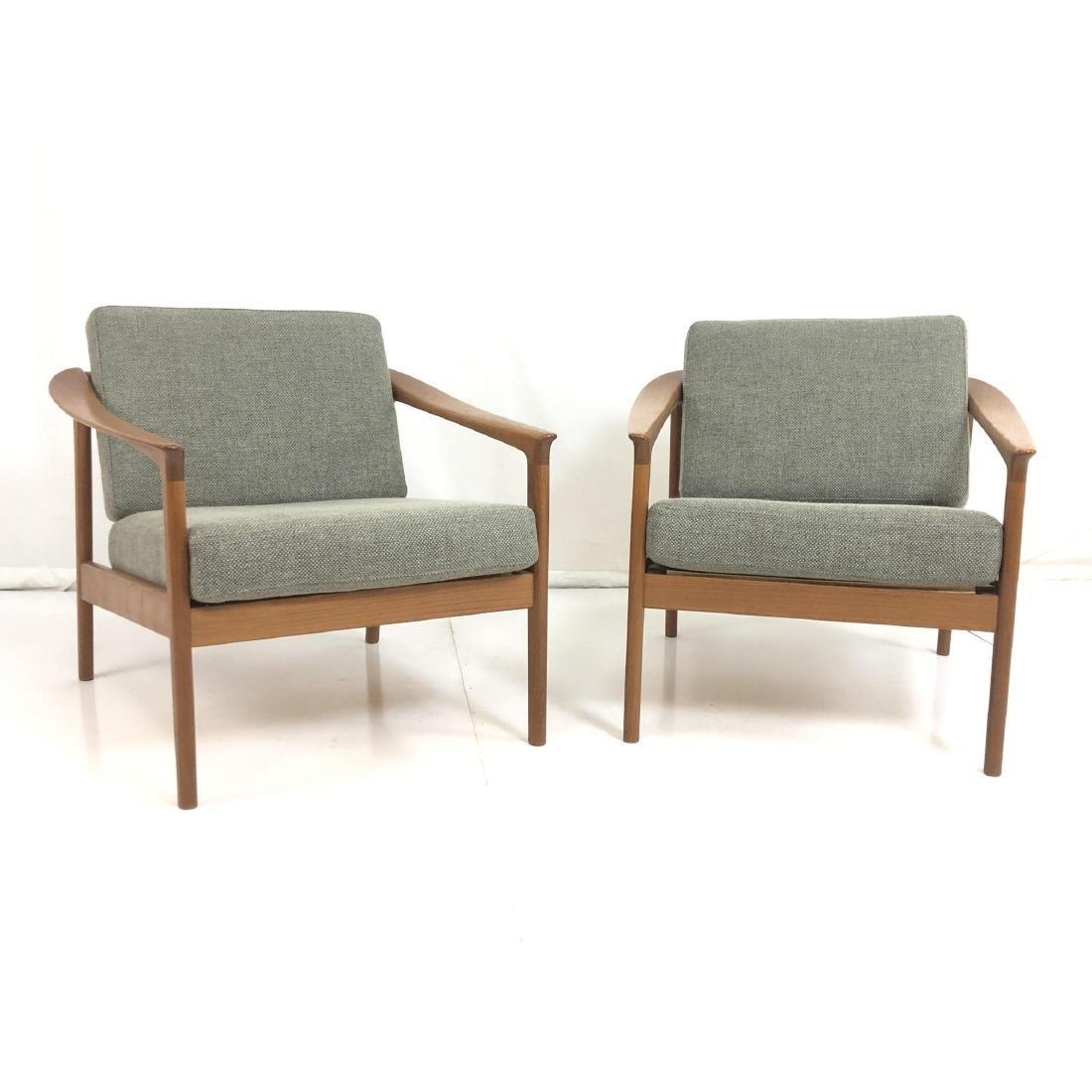 Pr FOLKE OHLSSON Danish Modern Teak Lounge Chairs - 3