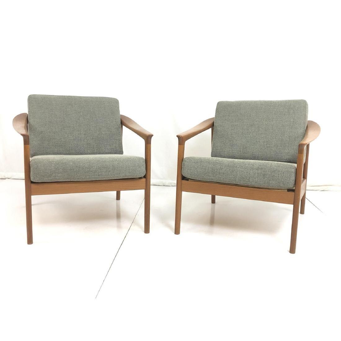 Pr FOLKE OHLSSON Danish Modern Teak Lounge Chairs - 4