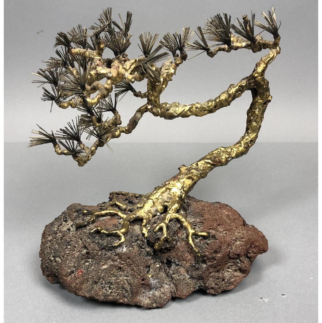 Brutalist Modern Brass Bonsai Tree Sculpture. Tor
