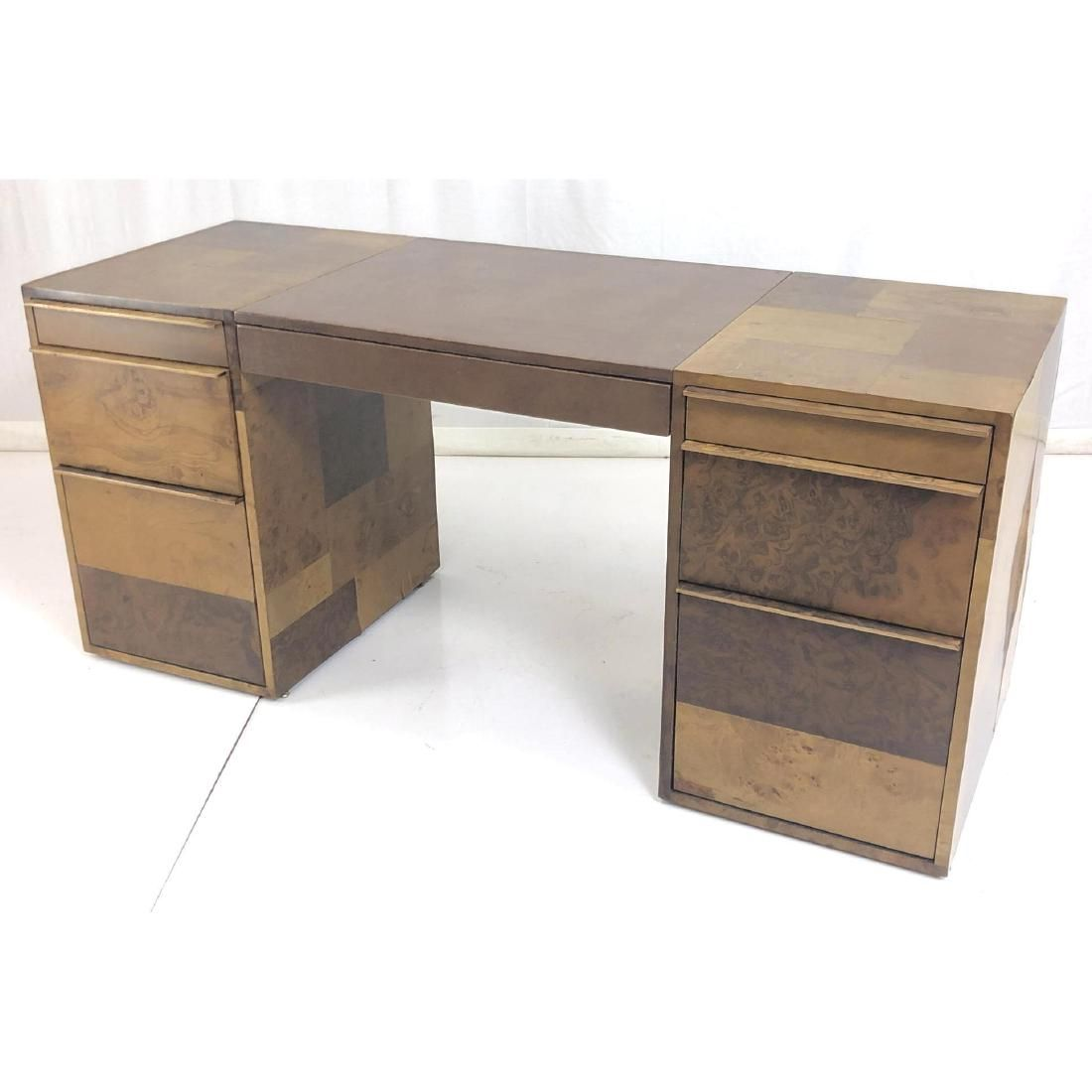 PAUL EVANS Burl Wood Panel Executive Desk. Mosaic