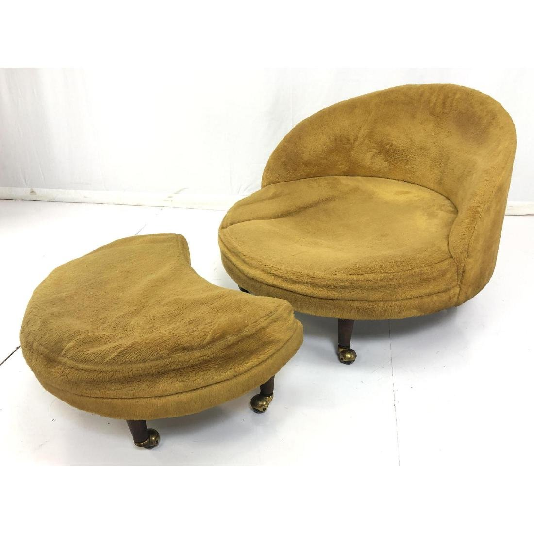 2pc ADRIAN PEARSALL Circle Lounge Chair & Ottoman