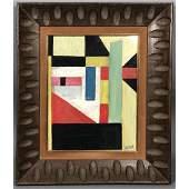 JOSEF ZENK Painting. Colorful geometric block ima