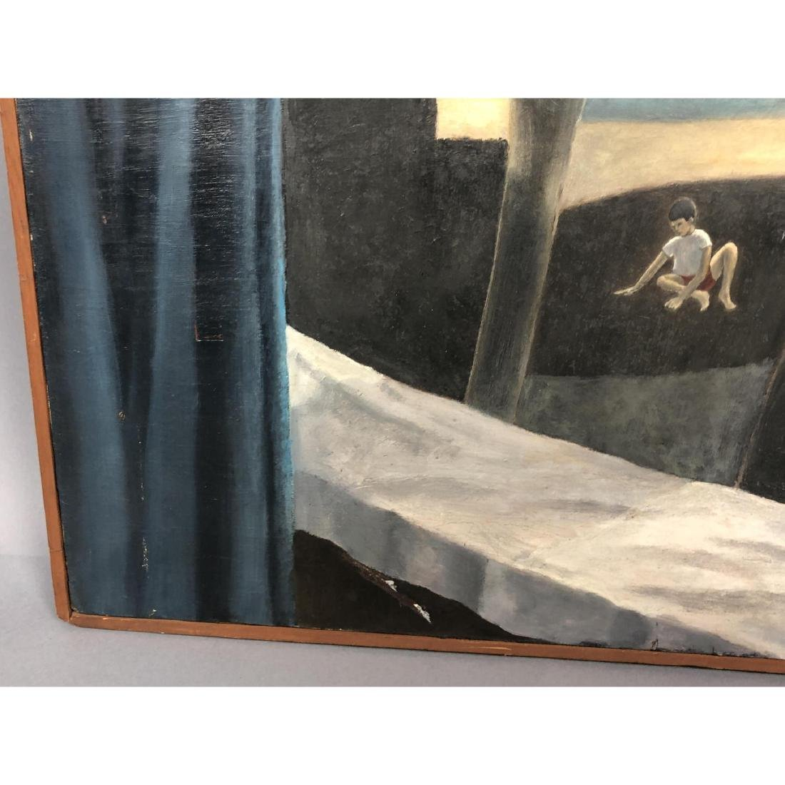 Unsigned Surrealist Modern Figural Oil Painting. - 6