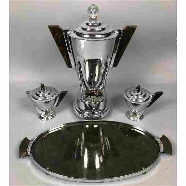 4pc Manning Bowman Bakelite Art Deco Coffee Service Set