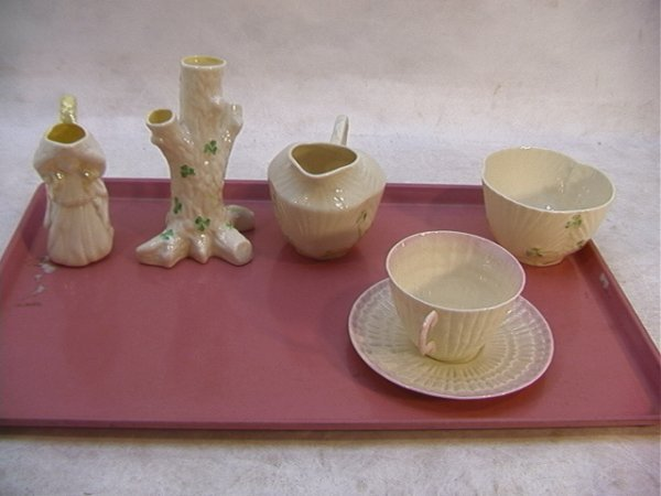 514: 5 pcs BELLEEK Porcelain Vases, Pitcher, Creamer an