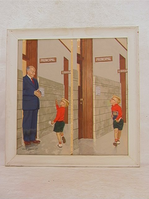 654: DICK SARGENT Illustration Oil on Board School scen