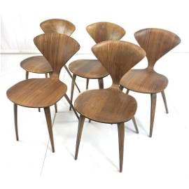 5 NORMAN CHERNER Walnut Corseted Waist Chairs. PL