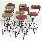 Set 5 PAUL TUTTLE Barstools. Modernist Black Hair