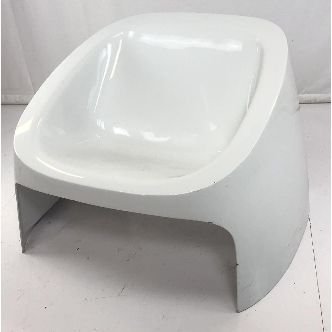 White Molded Plastic Modernist Lounge Chair. Whit