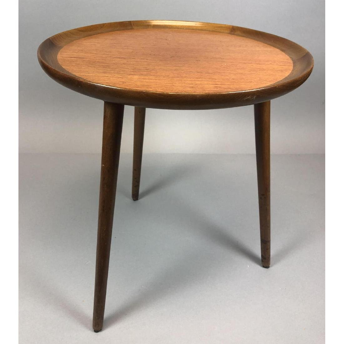 Three Leg Danish Teak SELIG Side Table. Tapered l