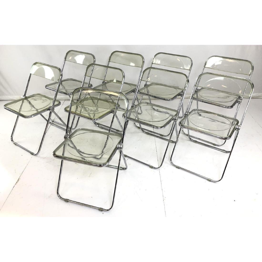 Set 9 Lucite Italian Folding Chairs. Modernist Se