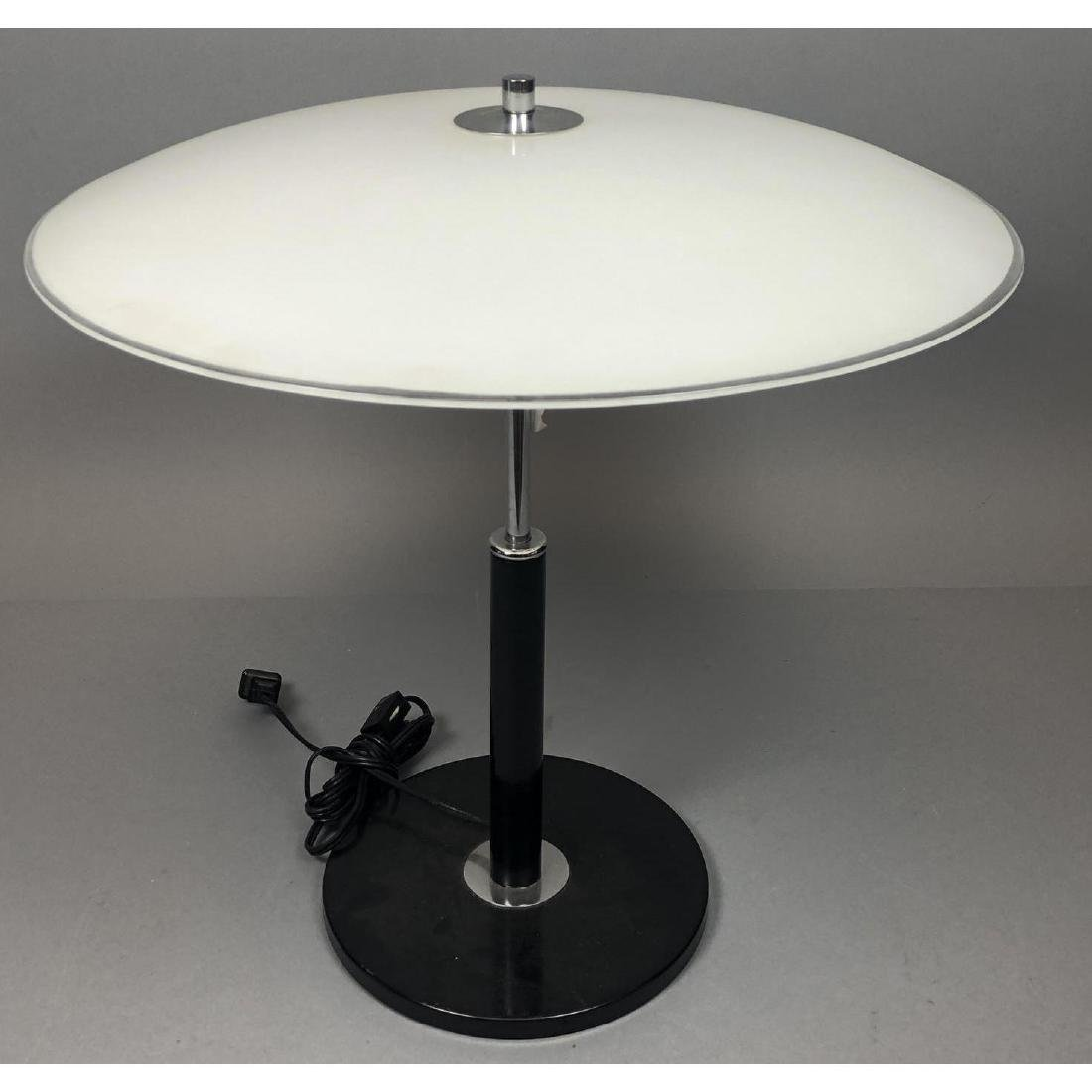 Glass Saucer Shade Table Desk Lamp. Black and chr