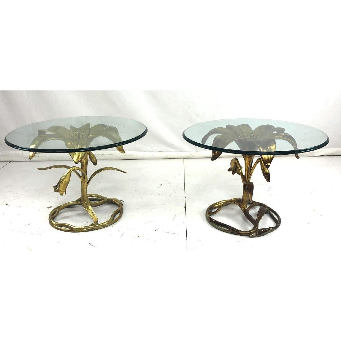 Pr Arthur Court Gilt Metal Lily Side Tables. Figu