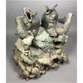 Vintage Figural Fish Bronze Garden Fountain Statu