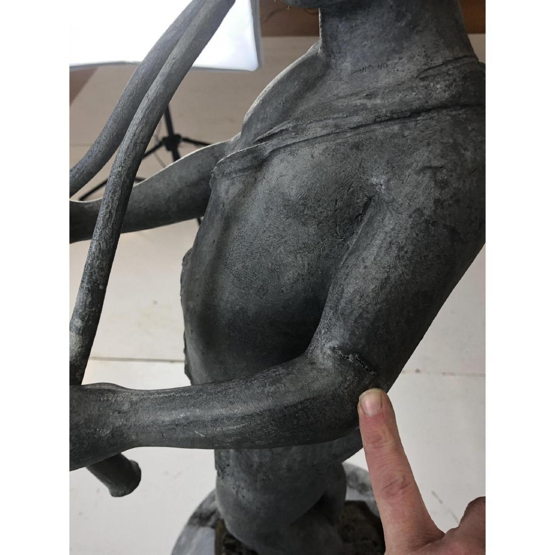2 piece Outdoor Garden Sculpture & Pedestal. Zinc - 10
