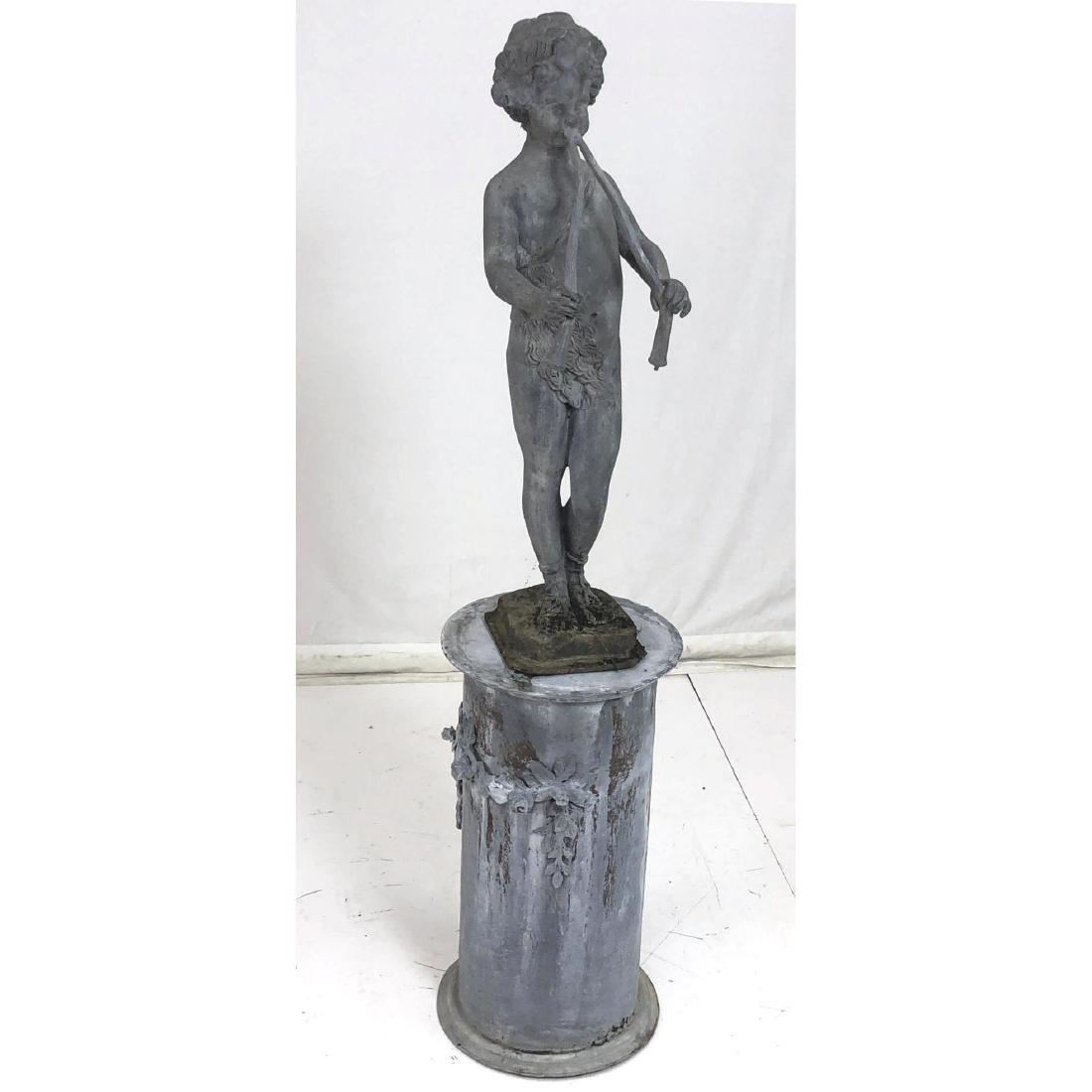 2 piece Outdoor Garden Sculpture & Pedestal. Zinc