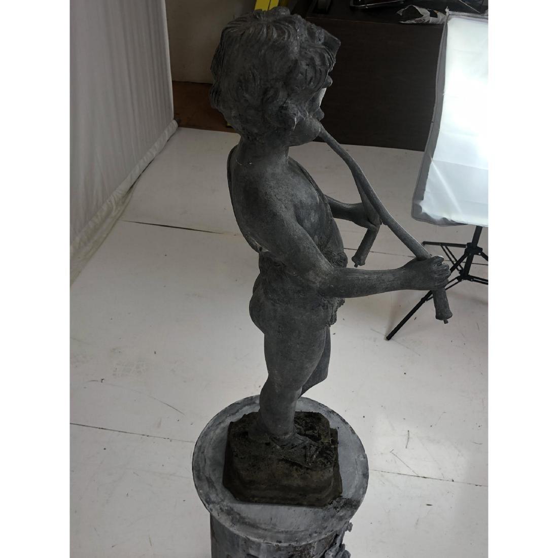 2 piece Outdoor Garden Sculpture & Pedestal. Zinc - 7