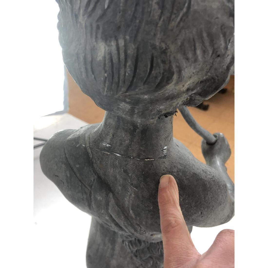 2 piece Outdoor Garden Sculpture & Pedestal. Zinc - 8