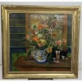 R WEIDNER Still Life with Cat Oil Painting Lar