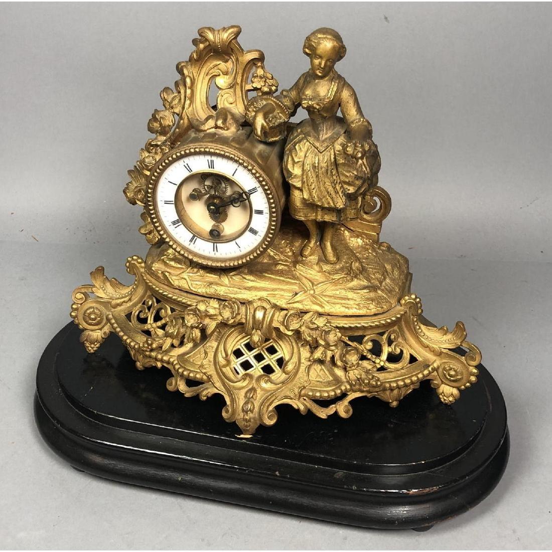PH MOUREY Gilt Bronze Figural Table Mantle Clock.