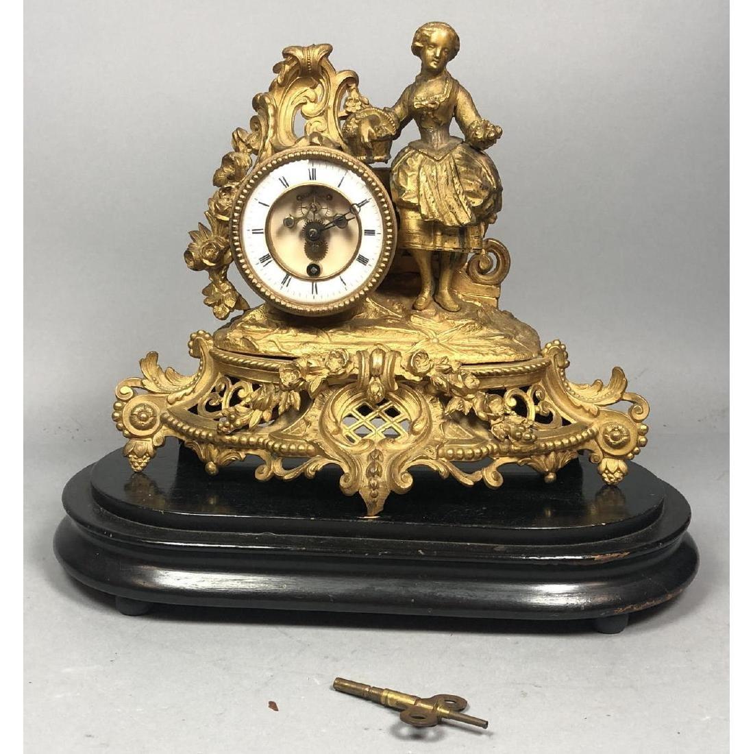 PH MOUREY Gilt Bronze Figural Table Mantle Clock. - 2