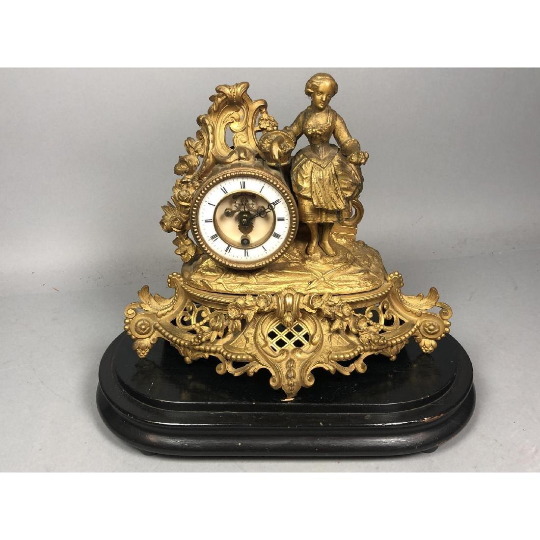 PH MOUREY Gilt Bronze Figural Table Mantle Clock. - 3