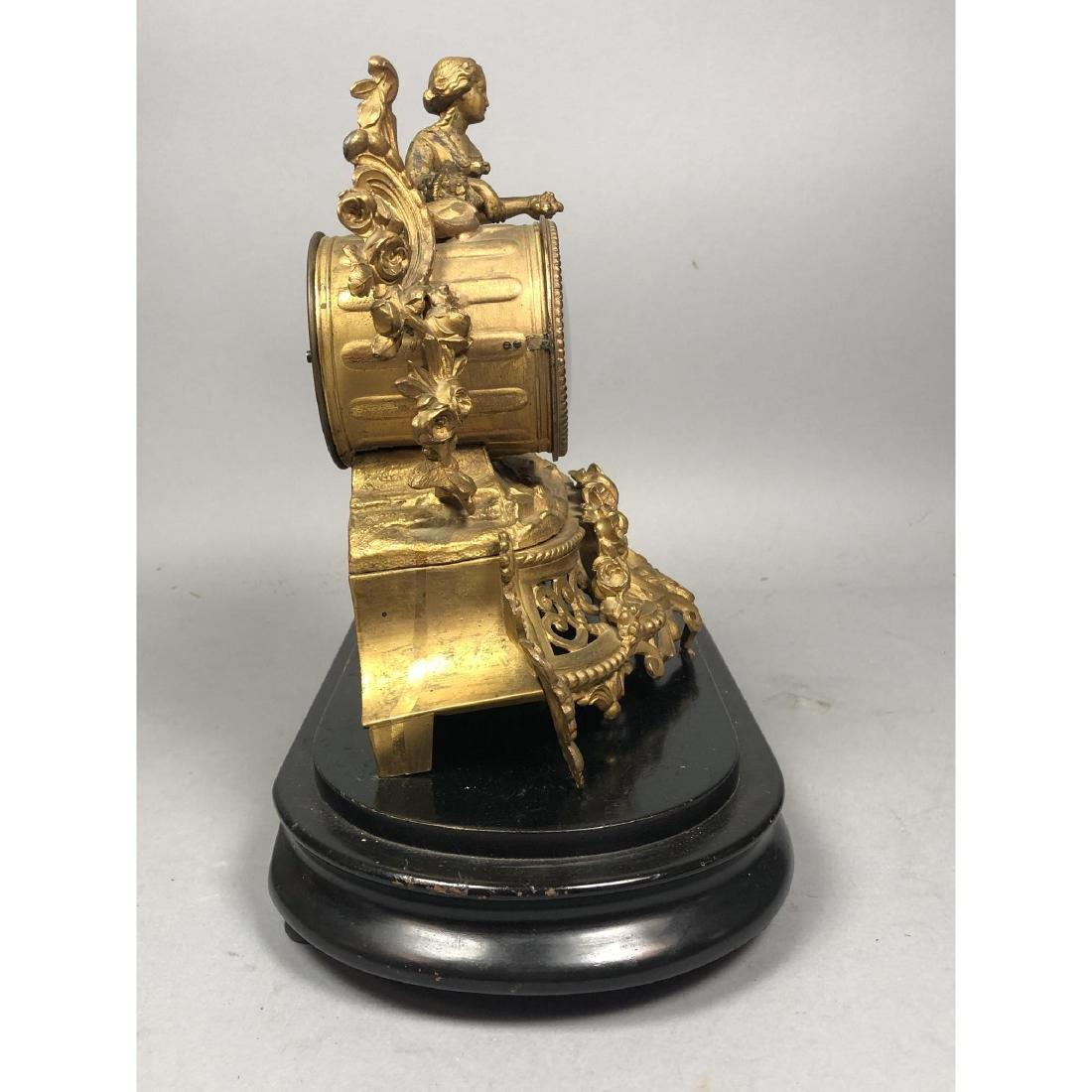 PH MOUREY Gilt Bronze Figural Table Mantle Clock. - 5